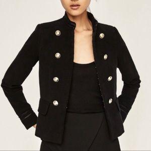 Zara Military Jacket Gold Button Blazer Black